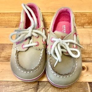 ❤️ Toddler Girl Plaid and Tan Sperrys Size 4